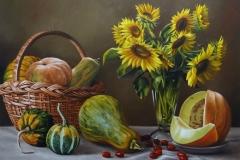 pintura-cesto-com-morangas-e-girassol-artista-elton-brunetti