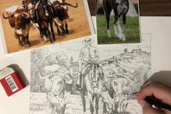 Pintura-de-Andaluzia-Espanha-com-cavalos-e-touro-por-Elton-Brunetti-image-01