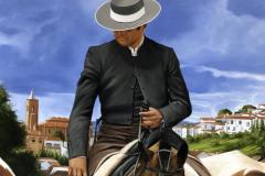 Pintura-de-Andaluzia-Espanha-com-cavalos-e-touro-por-Elton-Brunetti-image-03