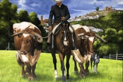 Pintura-de-Andaluzia-Espanha-com-cavalos-e-touro-por-Elton-Brunetti