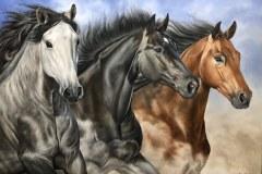 Pintura-em-tela-de-tres-cavalos-por-Elton-Brunetti