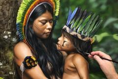 pintura-de-retrato-de-indios-por-Elton-Brunetti