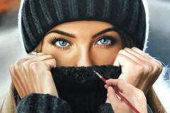 pintura-de-retrato-de-uma-mulher-com-toca-por-Elton-Brunetti