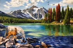 obra-Paisagem-com-Cavalos-óleo-sobre-tela-artista-elton-brunetti