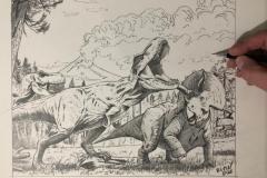 Pintura-Tiranossauro-e-Triceratops-por-Elton-Brunetti-02