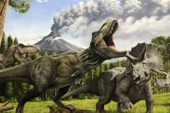 Pintura-Tiranossauro-e-Triceratops-por-Elton-Brunetti