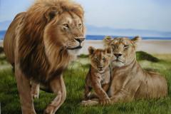 Pintura-Familia-de-Leoes-por-Elton-Brunetti