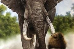 pintura-de-leao-com-elefante-por-Elton-Brunetti