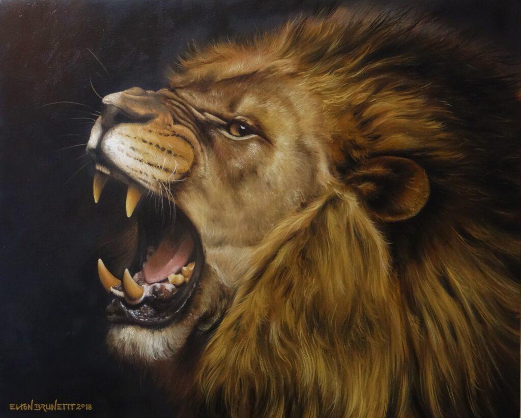 Pintura de um Leão óleo sobre tela Elton Brunetti